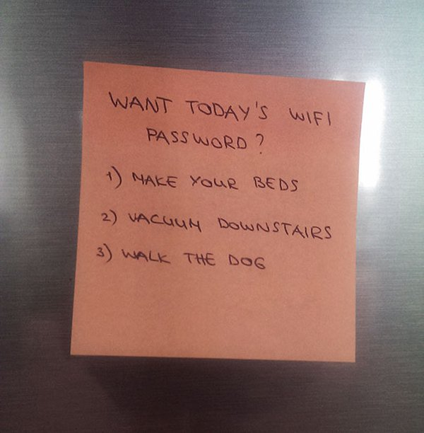 notes from parents want todays wifi password