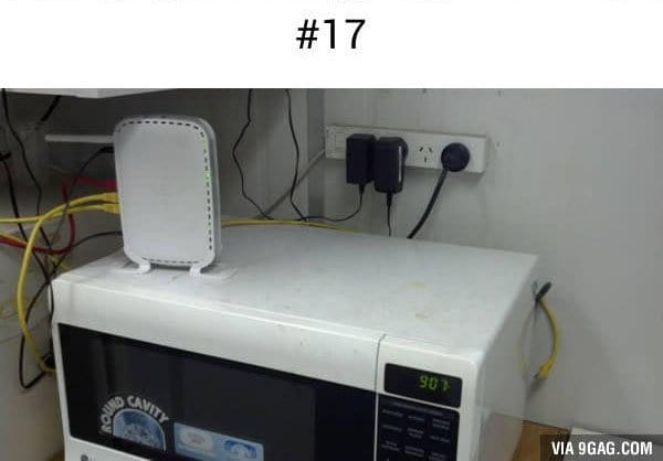 wireless router on microwave
