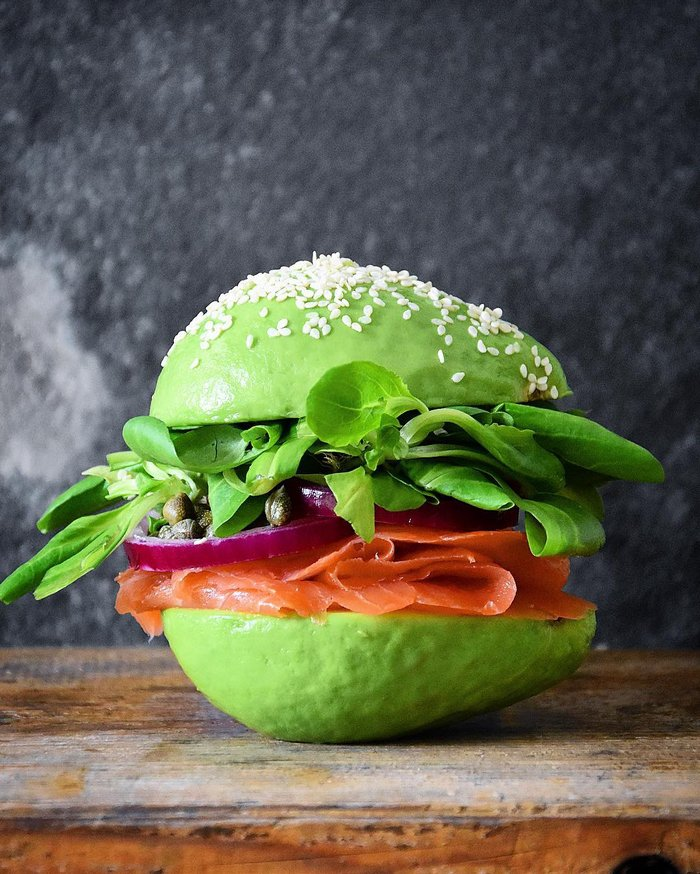 avocado salmon burger