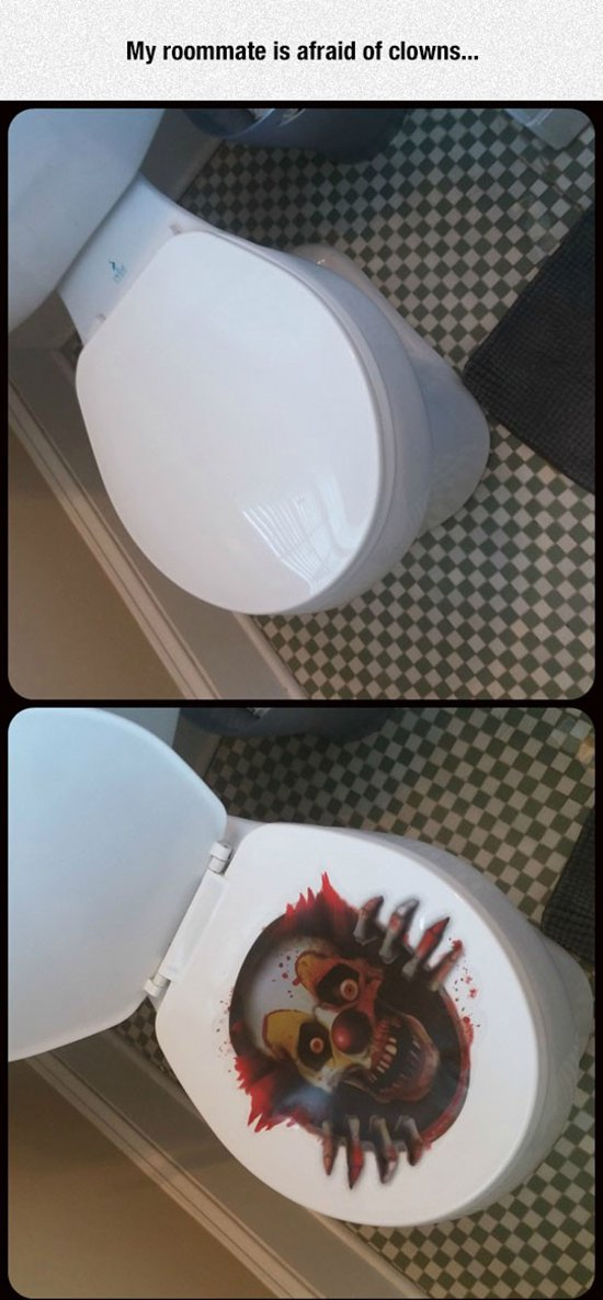 clown sticker on toilet seat prank