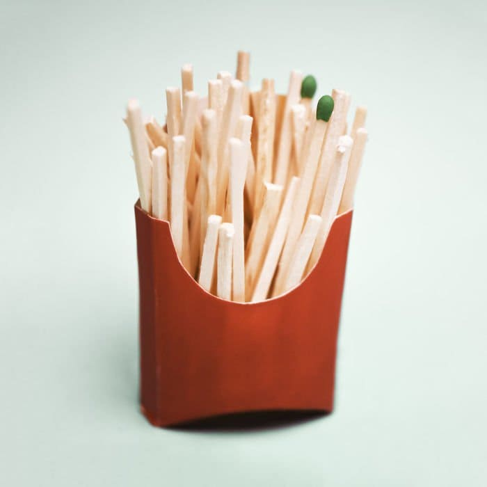 fake-food-out-of-household-items-fries-matches