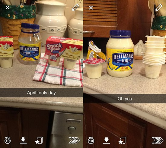 hellmans mayonaise placed into yoghurt pots prank