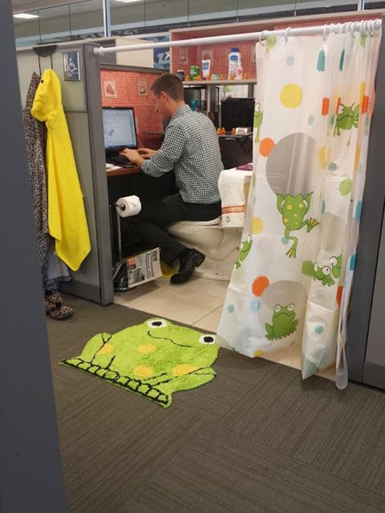 office transformed into bathroom prank