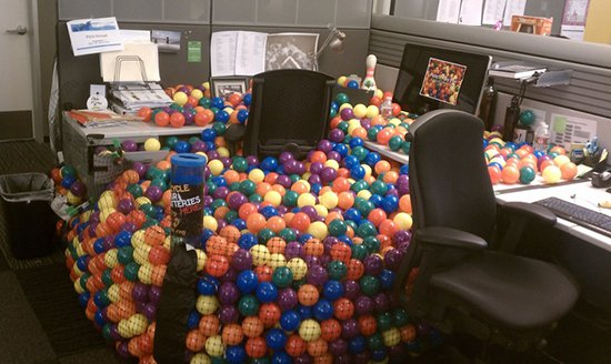 office area turned into ball pit prank