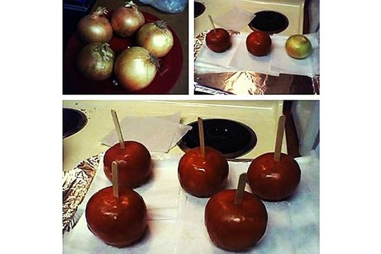 onions being dipped to look like toffee apples