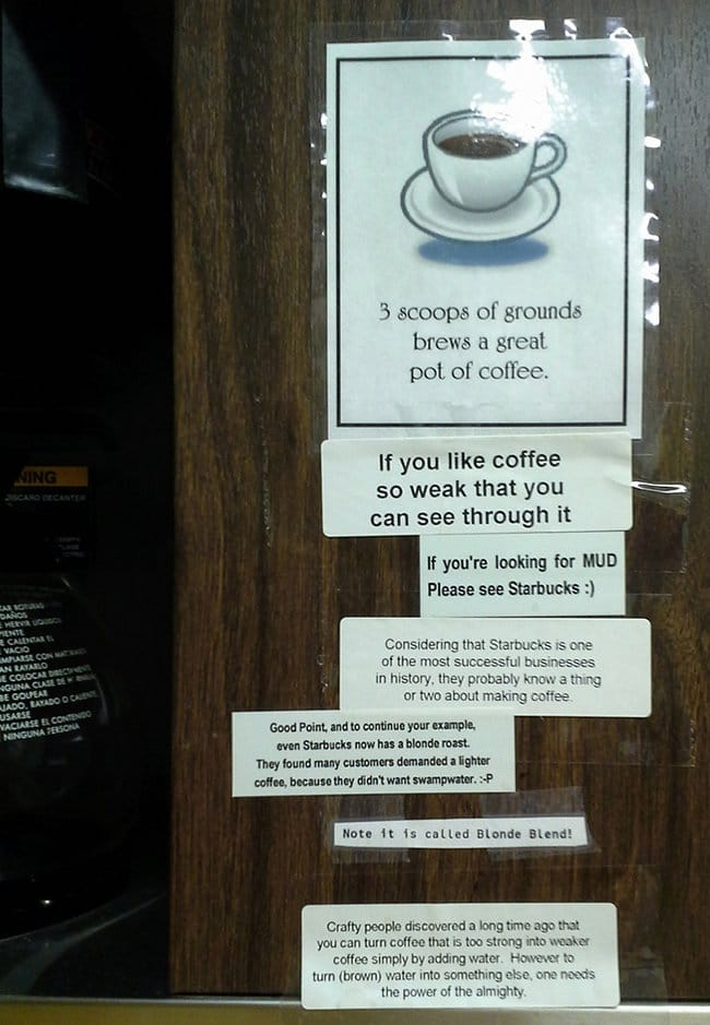 passive agressive notes coffee arguement