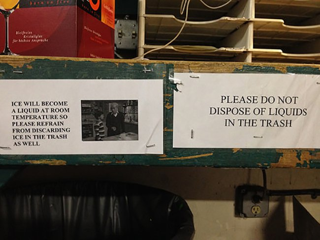 passive agressive notes liquids and ice in trash
