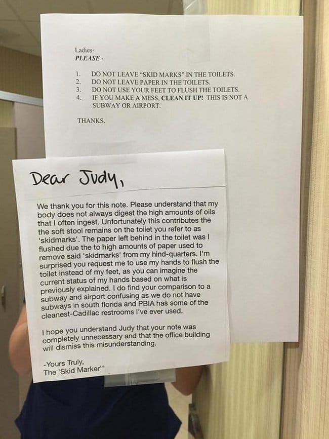 passive agressive notes toilet notice