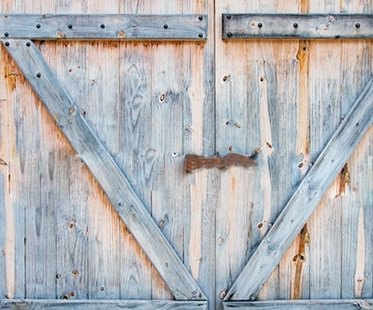 Barn Door Shower Curtain Wood