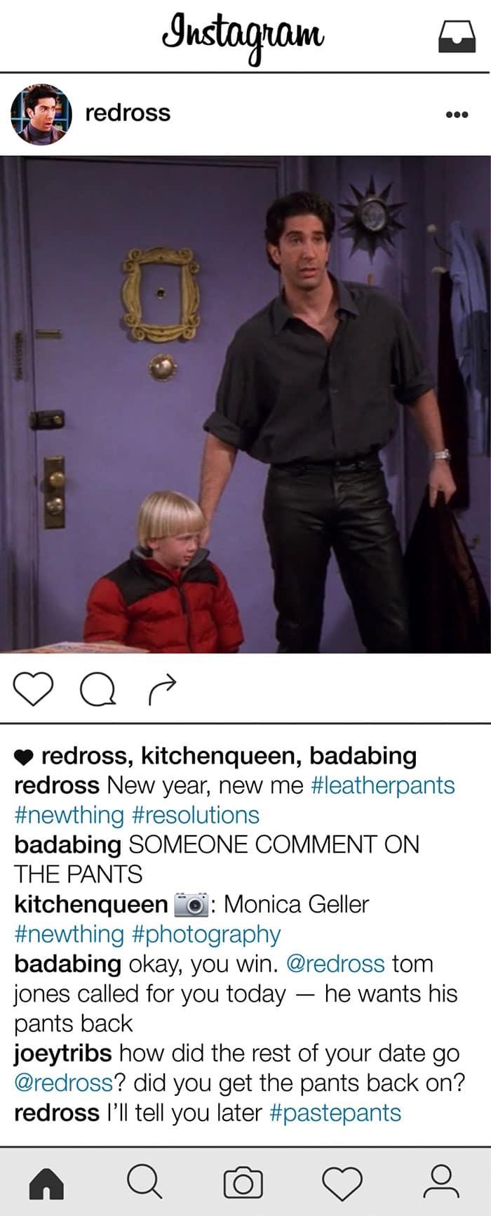 friends-ross-geller-instagram-leather-pants