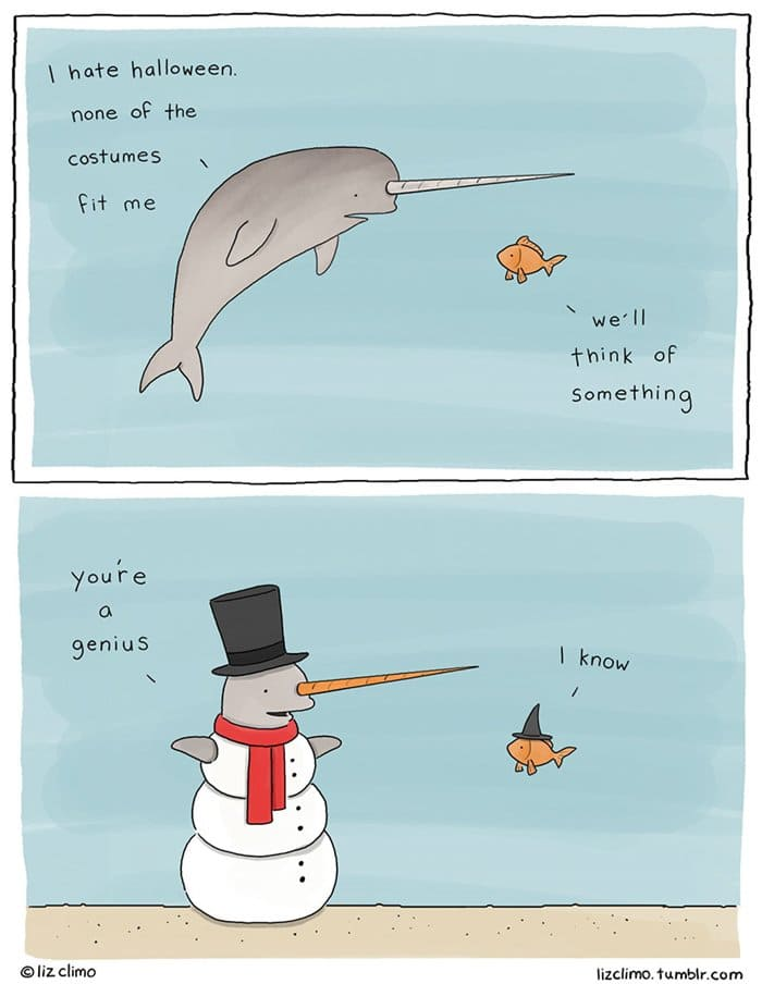 halloween-animal-comics-liz-climo-narwhal-snow-man
