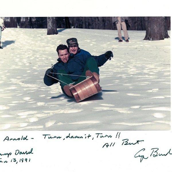 old-photos-arnie-george-bush-senior-sleigh-ride-1991