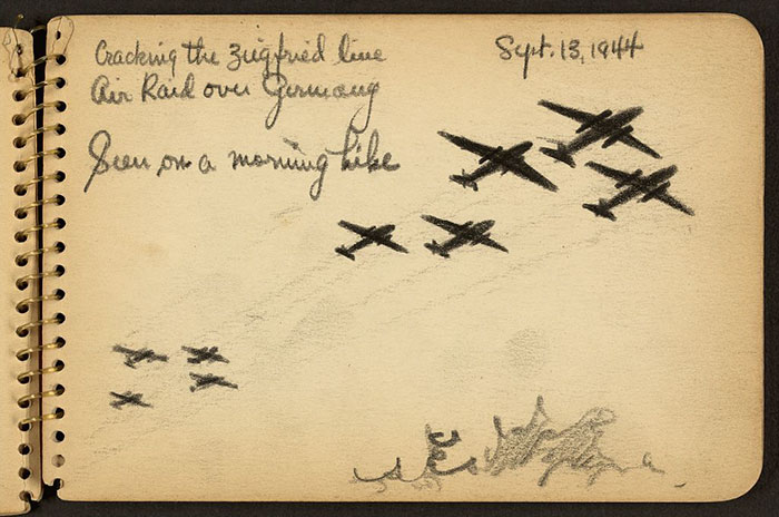 air-raid-over-germany-wwii-sketch