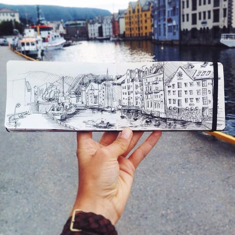 alesund-port-norway-sketch