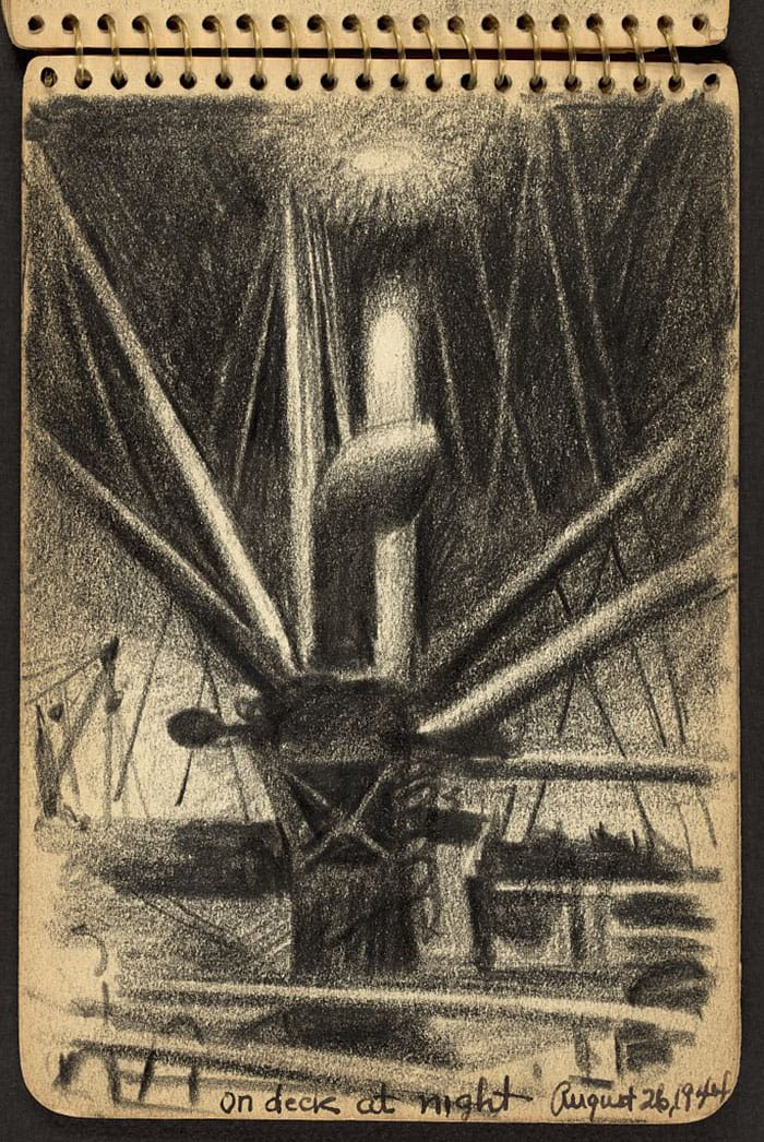 apparatus-on-ship-at-night-wwii-sketch