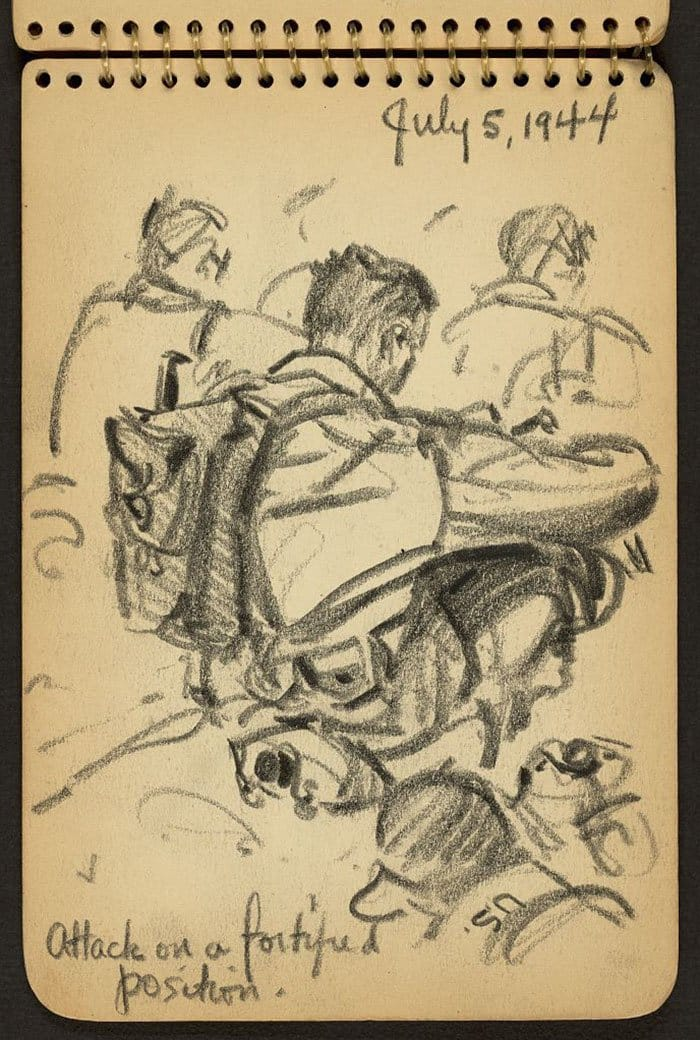 attack-on-a-fortified-posistion-wwii-sketch