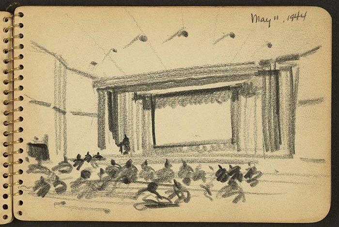 auditorium-at-fort-jackson-wwii-sketch