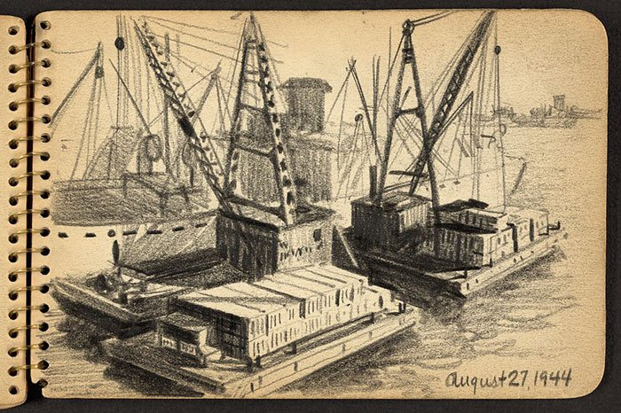 barges-with-containers-wwii-sketch