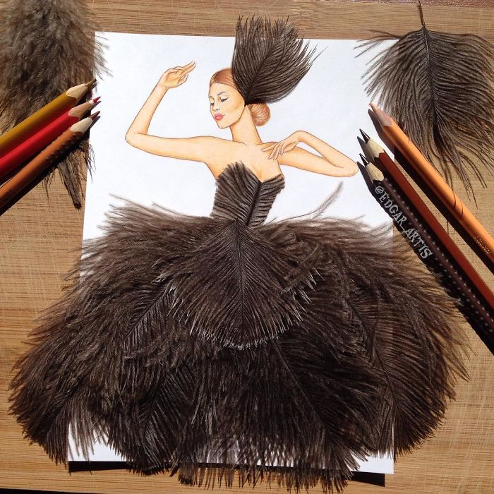 browth-feather-dress-sketch