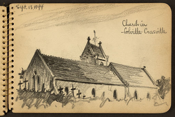 church-in-france-wwii-sketch