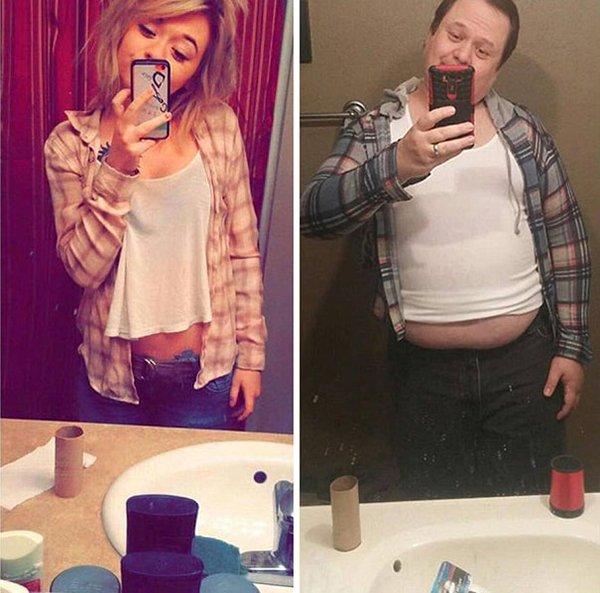 dad-trolling-daughter-selfie-flannel-shirt