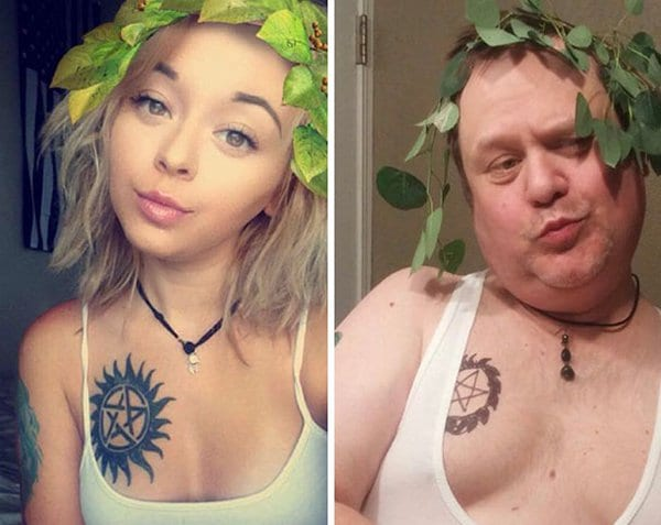 dad-trolling-daughter-selfie-leaves-in-hair
