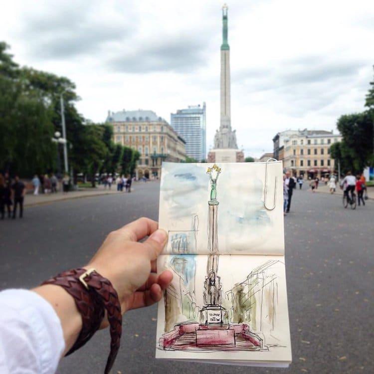 freedom-monument-latvia-sketch