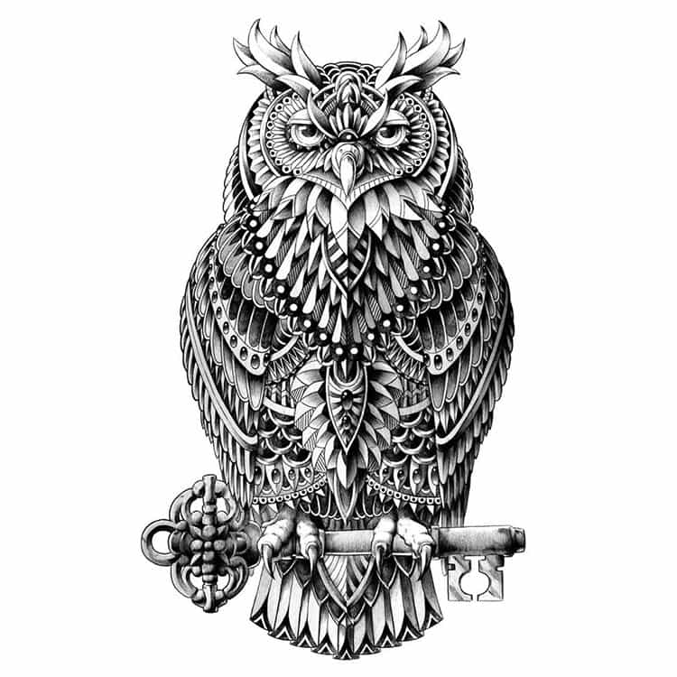 great-horned-owl-paisley-drawing