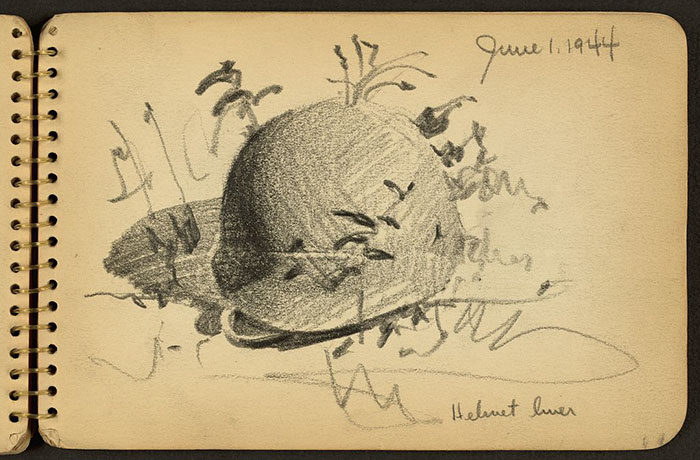 helmet-liner-on-ground-wwii-sketch