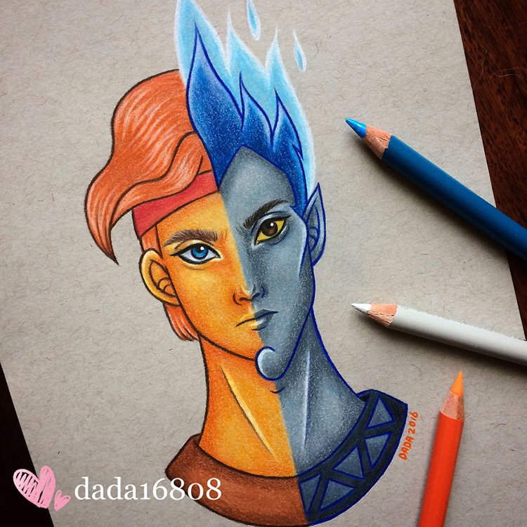 13 Brilliant Drawings Showing Disney Villains Merged With Heroes