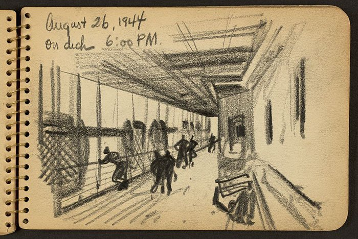 lifeboat-on-deck-of-ship-wwii-sketch