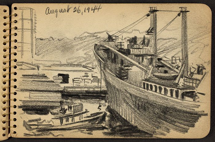 line-from-ship-being-dropped-wwii-sketch