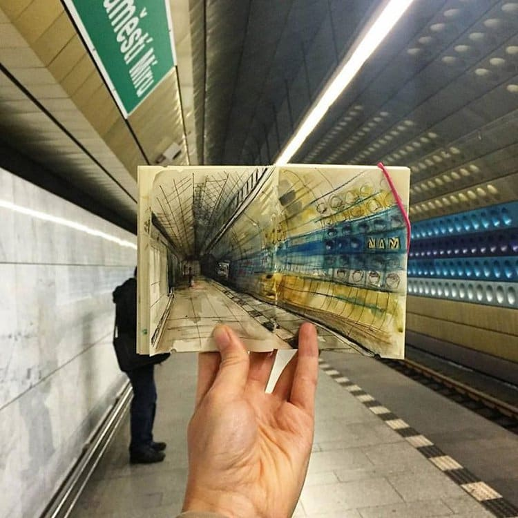 namesti-miru-metro-prague-sketch