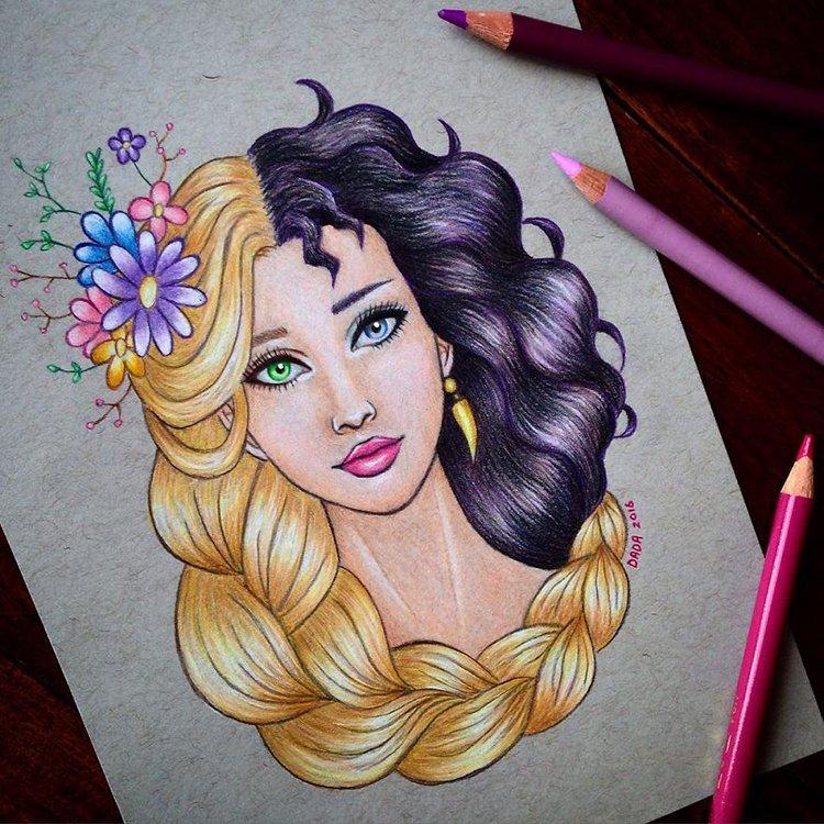 rapunzel-vs-mother-gothel-drawing