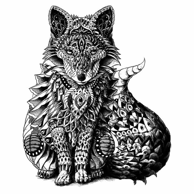 red-fox-paisley-drawing