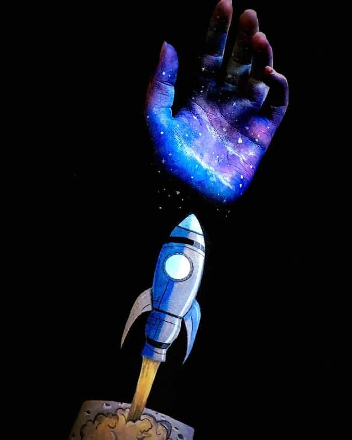 rocket-space-optical-illusion-on-arm