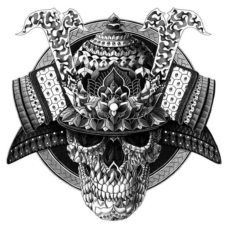 samurai-skull-paisley-drawing