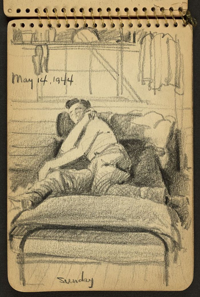 soldier-in-bed-wwii-sketch