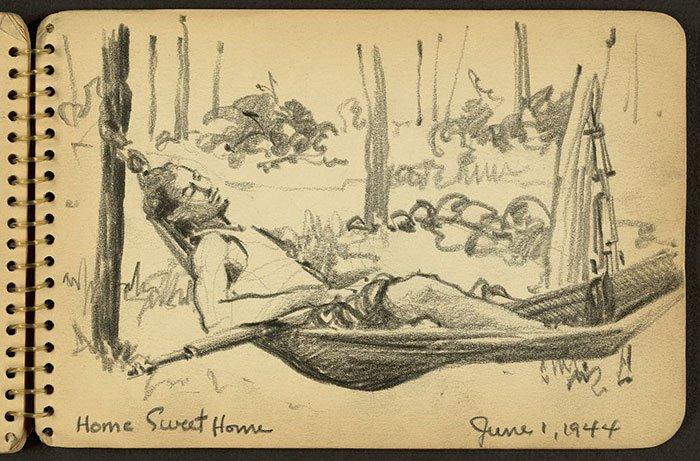 soldier-in-hammock-wwii-sketch