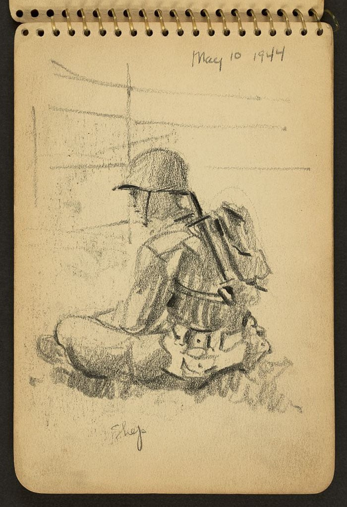 soldier-sitting-cross-legged-wwii-sketch