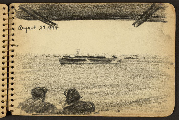 soldiers-looking-at-ship-wwii-sketch