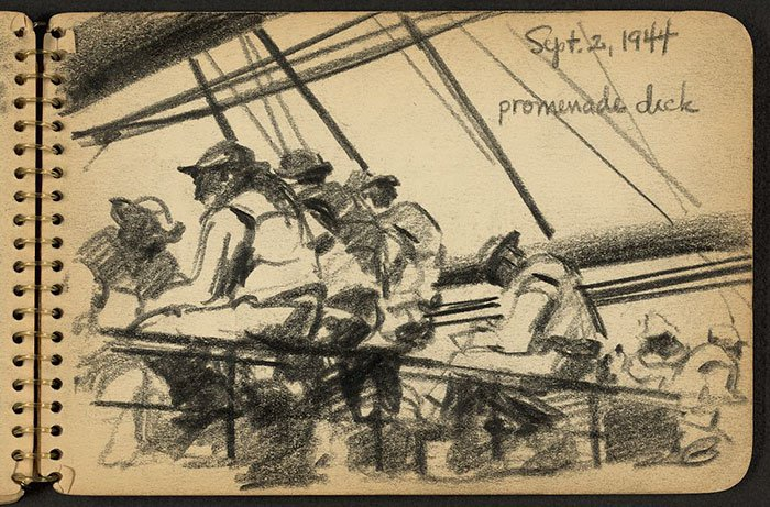 soldiers-sitting-on-promenade-wwii-sketch