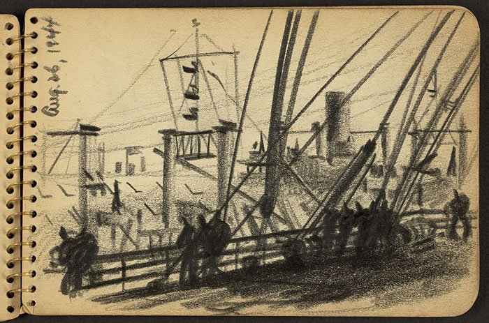 soldiers-standing-new-york-harbor-wwii-sketch