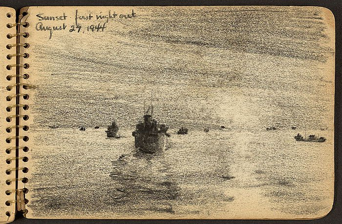 sunset-first-night-ships-on-sea-wwii-sketch