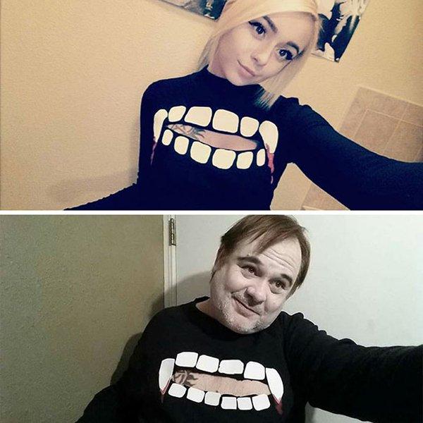 teeth-fangs-top-dad-trolling-daughter-selfie