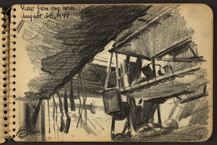 view-from-bunk-wwii-sketch