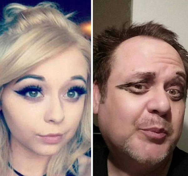 winged-eyeliner-dad-trolling-daughter-selfie