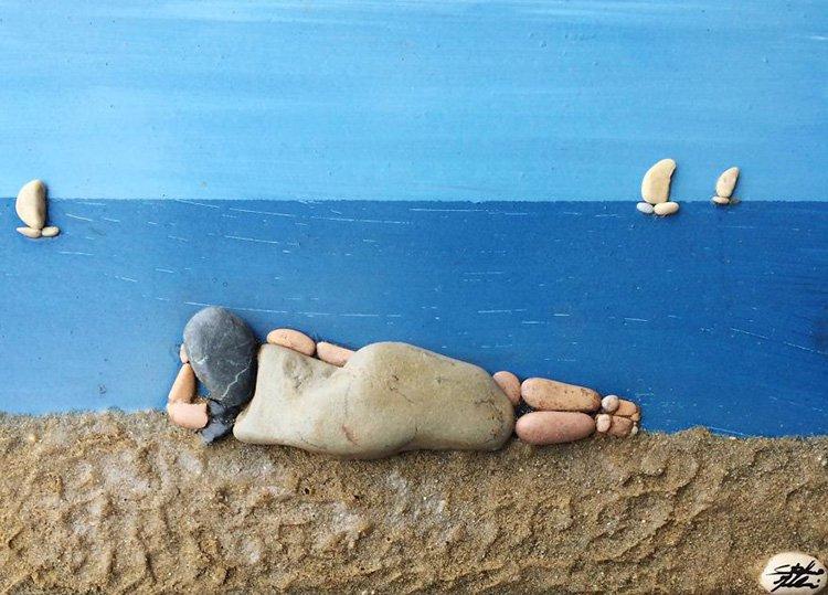 woman-on-beach-stone-art
