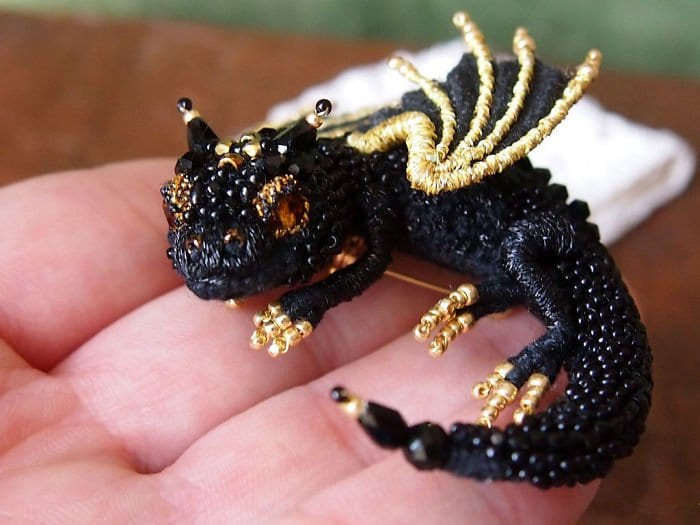 Alyona-Lytvin dragon brooch black amber