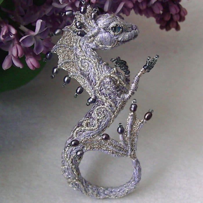 Alyona-Lytvin dragon brooch dancing pearl